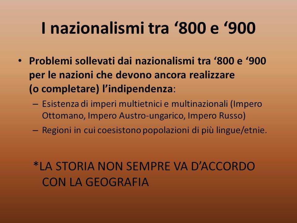 I nazionalismi tra '800 e '900 Problemi sollevati dai nazionalismi tra '800 e '900 per le nazioni che devono ancora realizzare (o completare) l'indipe