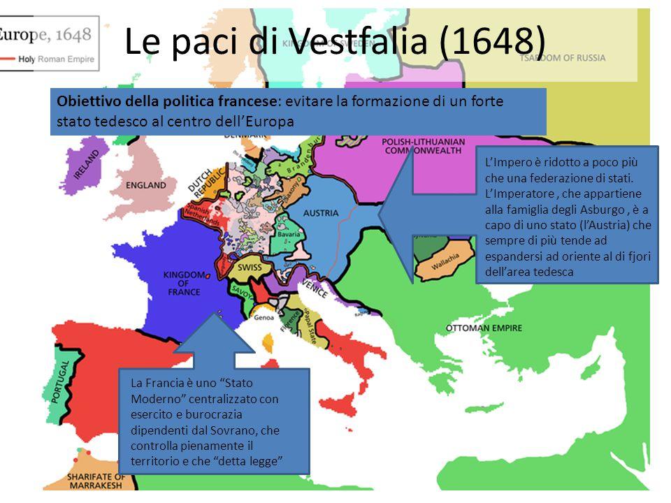 """Le paci di Vestfalia (1648) La Francia è uno """"Stato Moderno"""" centralizzato con esercito e burocrazia dipendenti dal Sovrano, che controlla pienamente"""