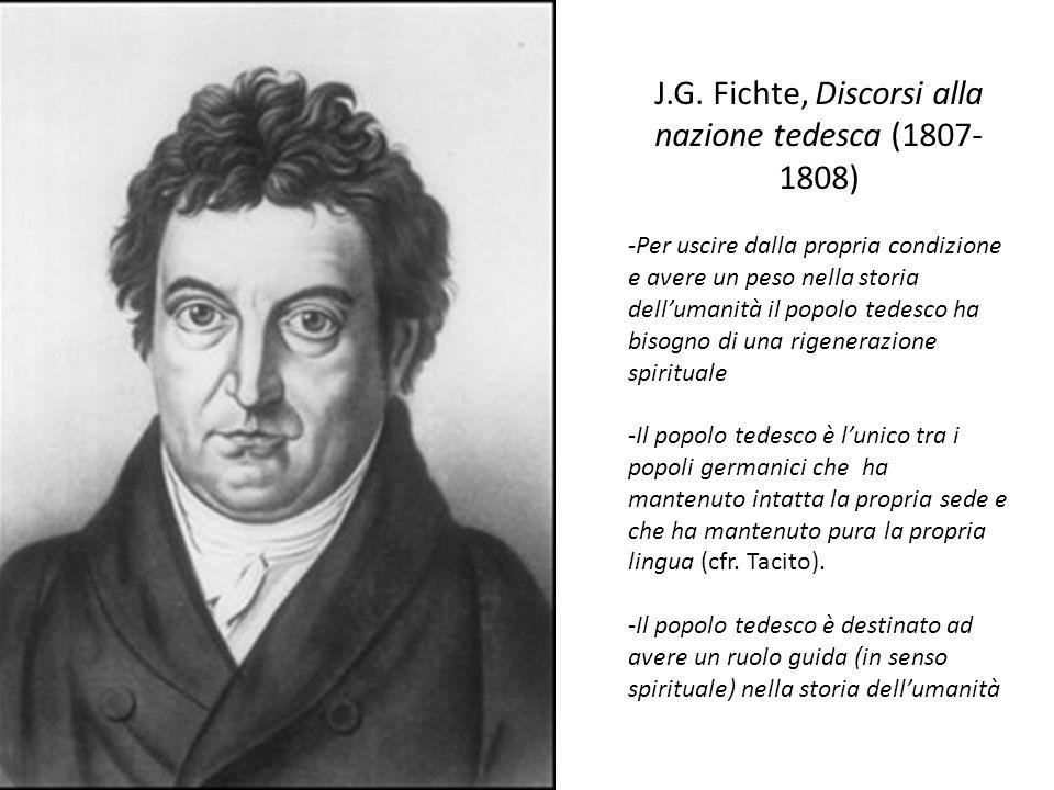J.G. Fichte, Discorsi alla nazione tedesca (1807- 1808) -Per uscire dalla propria condizione e avere un peso nella storia dell'umanità il popolo tedes