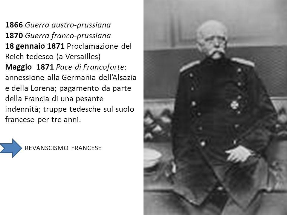 1866 Guerra austro-prussiana 1870 Guerra franco-prussiana 18 gennaio 1871 Proclamazione del Reich tedesco (a Versailles) Maggio 1871 Pace di Francofor