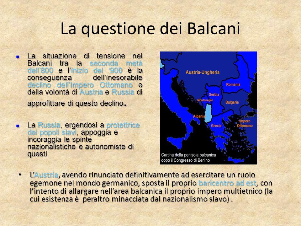 La questione dei Balcani L'Austria, avendo rinunciato definitivamente ad esercitare un ruolo egemone nel mondo germanico, sposta il proprio baricentro