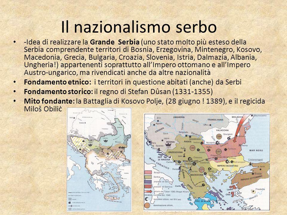 -Idea di realizzare la Grande Serbia (uno stato molto più esteso della Serbia comprendente territori di Bosnia, Erzegovina, Mintenegro, Kosovo, Macedo
