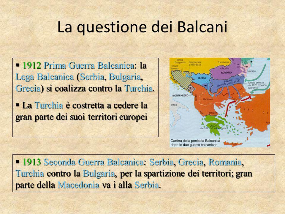  1912 Prima Guerra Balcanica: la Lega Balcanica (Serbia, Bulgaria, Grecia) si coalizza contro la Turchia.  La Turchia è costretta a cedere la gran p