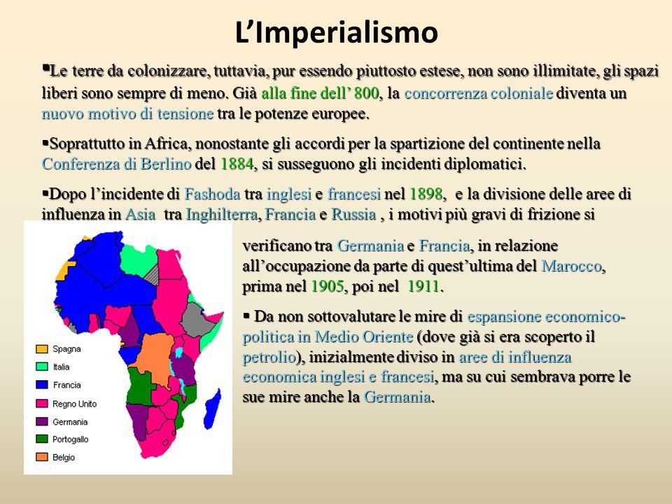 L'Imperialismo ▪ Le terre da colonizzare, tuttavia, pur essendo piuttosto estese, non sono illimitate, gli spazi liberi sono sempre di meno. Già alla