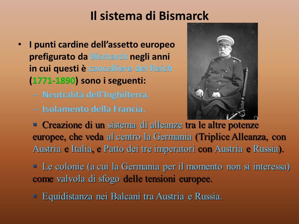 Il sistema di Bismarck  Creazione di un sistema di alleanze tra le altre potenze europee, che veda al centro la Germania (Triplice Alleanza, con Aust