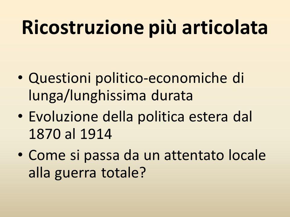 Ricostruzione più articolata Questioni politico-economiche di lunga/lunghissima durata Evoluzione della politica estera dal 1870 al 1914 Come si passa