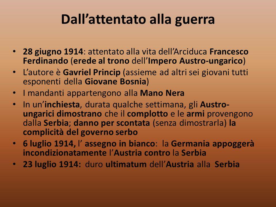 Dall'attentato alla guerra 28 giugno 1914: attentato alla vita dell'Arciduca Francesco Ferdinando (erede al trono dell'Impero Austro-ungarico) L'autor