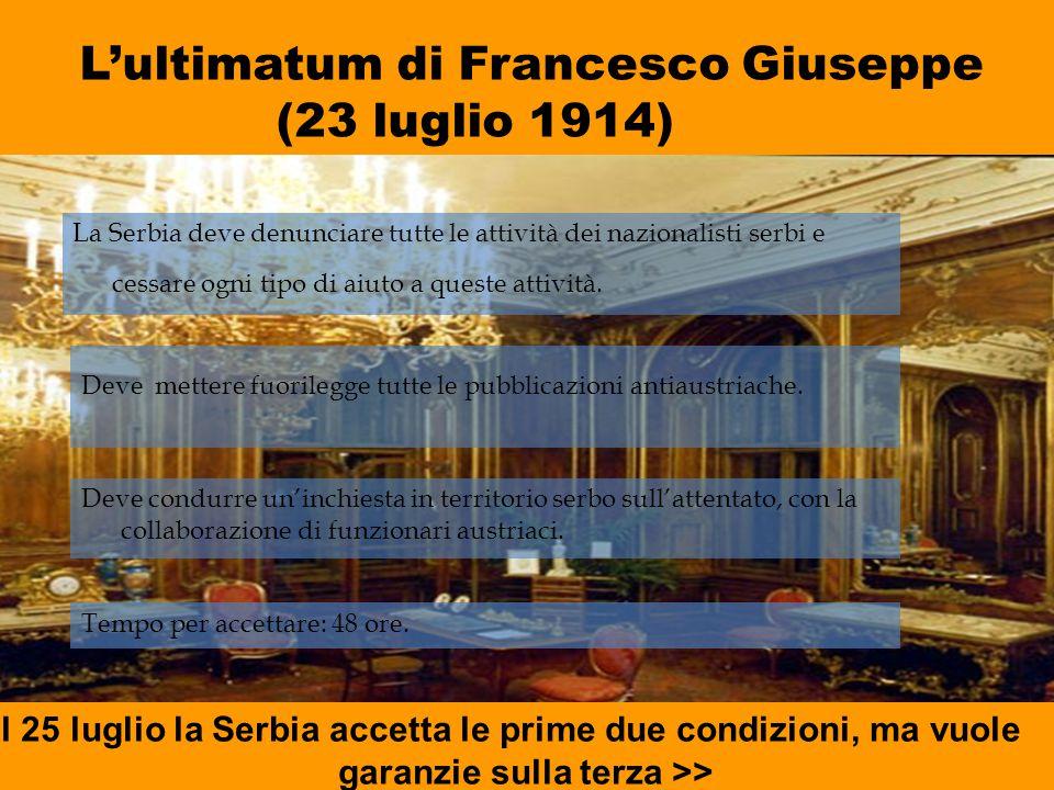 L'ultimatum di Francesco Giuseppe (23 luglio 1914) La Serbia deve denunciare tutte le attività dei nazionalisti serbi e cessare ogni tipo di aiuto a q