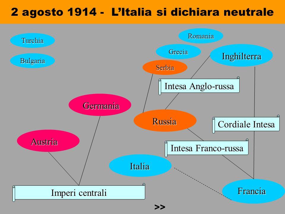 2 agosto 1914 - L'Italia si dichiara neutrale Imperi centrali Austria Austria Germania Germania Italia Italia Russia Russia Inghilterra Inghilterra Fr