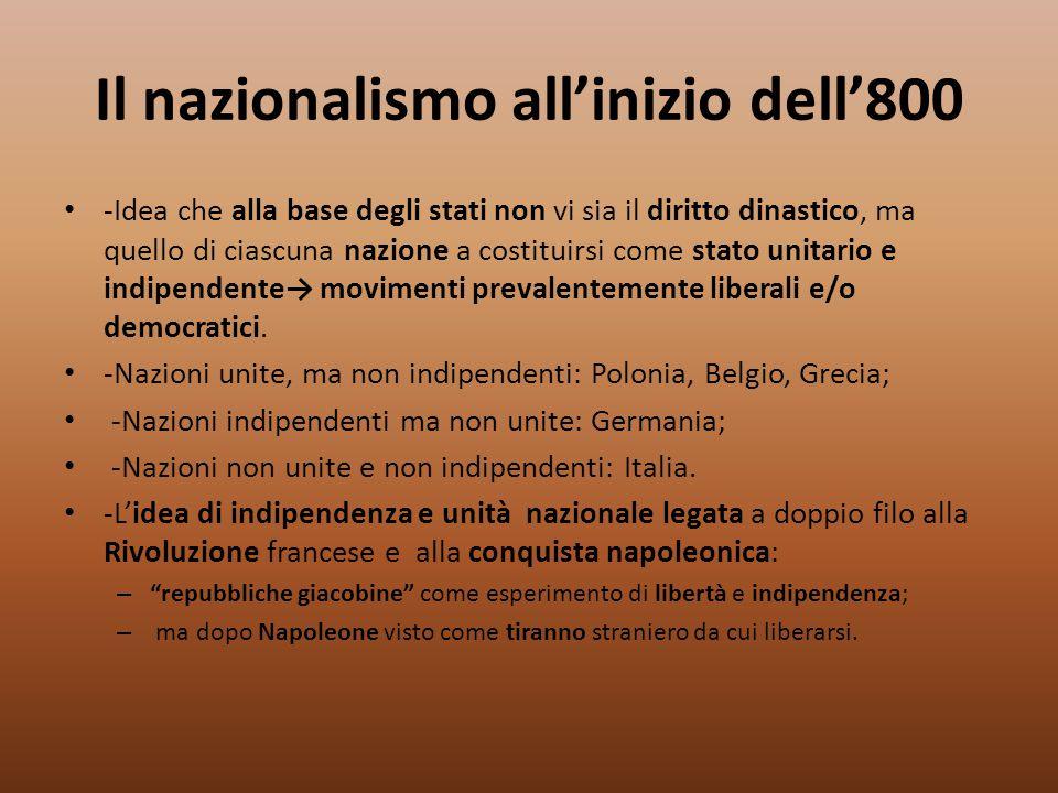 Il nazionalismo all'inizio dell'800 -Idea che alla base degli stati non vi sia il diritto dinastico, ma quello di ciascuna nazione a costituirsi come