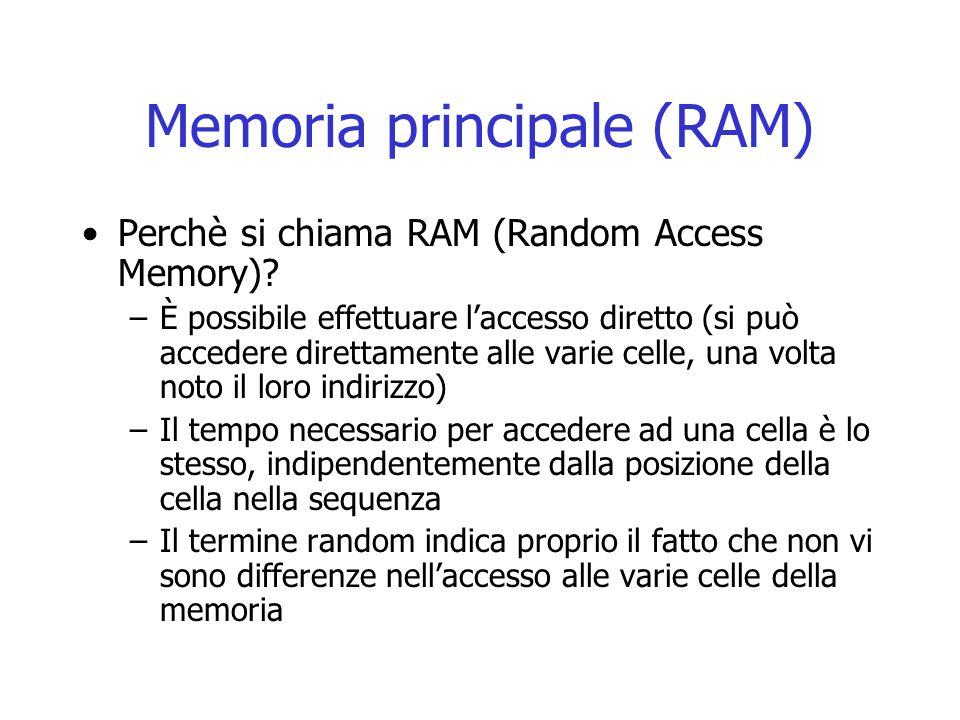 Memoria principale (RAM) Perchè si chiama RAM (Random Access Memory)? –È possibile effettuare l'accesso diretto (si può accedere direttamente alle var