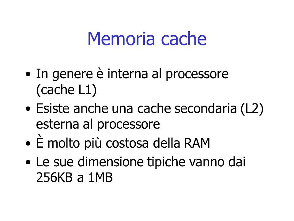Memoria cache In genere è interna al processore (cache L1) Esiste anche una cache secondaria (L2) esterna al processore È molto più costosa della RAM