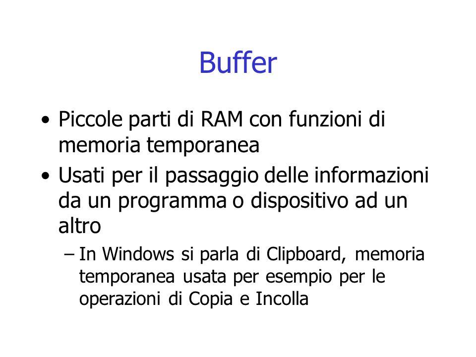 Buffer Piccole parti di RAM con funzioni di memoria temporanea Usati per il passaggio delle informazioni da un programma o dispositivo ad un altro –In