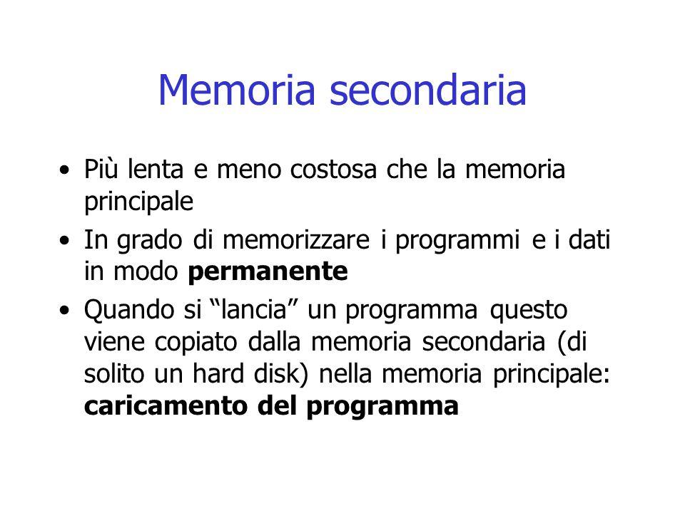 """Memoria secondaria Più lenta e meno costosa che la memoria principale In grado di memorizzare i programmi e i dati in modo permanente Quando si """"lanci"""