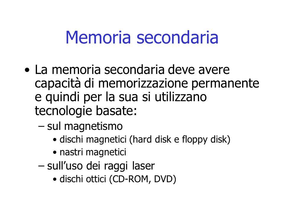 Memoria secondaria La memoria secondaria deve avere capacità di memorizzazione permanente e quindi per la sua si utilizzano tecnologie basate: –sul ma