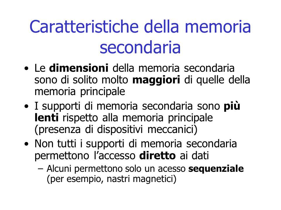Caratteristiche della memoria secondaria Le dimensioni della memoria secondaria sono di solito molto maggiori di quelle della memoria principale I sup