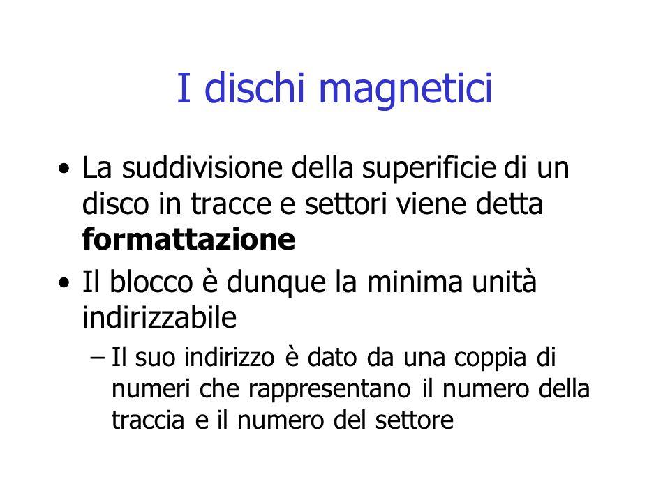 I dischi magnetici La suddivisione della superificie di un disco in tracce e settori viene detta formattazione Il blocco è dunque la minima unità indi