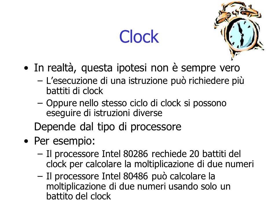 Clock In realtà, questa ipotesi non è sempre vero –L'esecuzione di una istruzione può richiedere più battiti di clock –Oppure nello stesso ciclo di cl