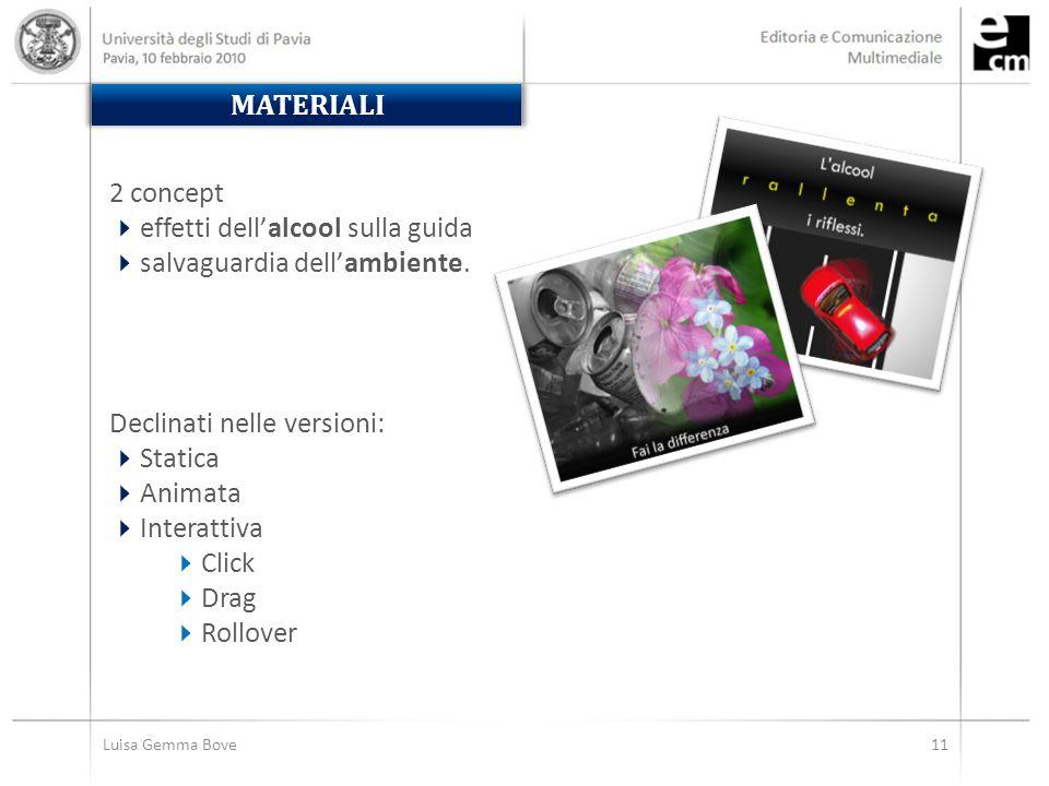 MATERIALI Luisa Gemma Bove11 2 concept  effetti dell'alcool sulla guida  salvaguardia dell'ambiente.