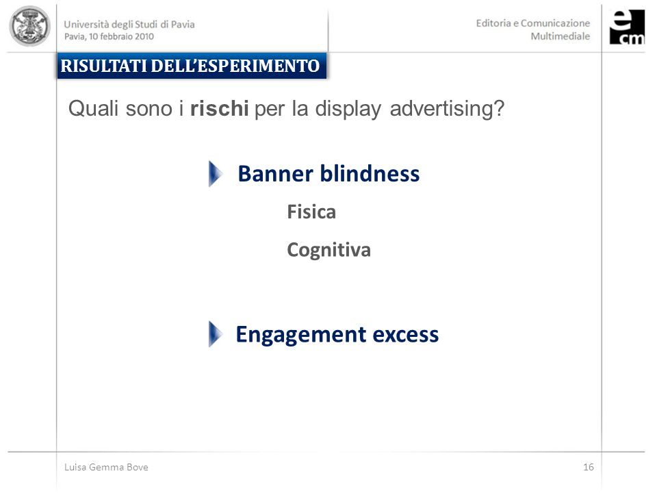 Luisa Gemma Bove16 Engagement excess RISULTATI DELL'ESPERIMENTO Quali sono i rischi per la display advertising? Banner blindness Fisica Cognitiva