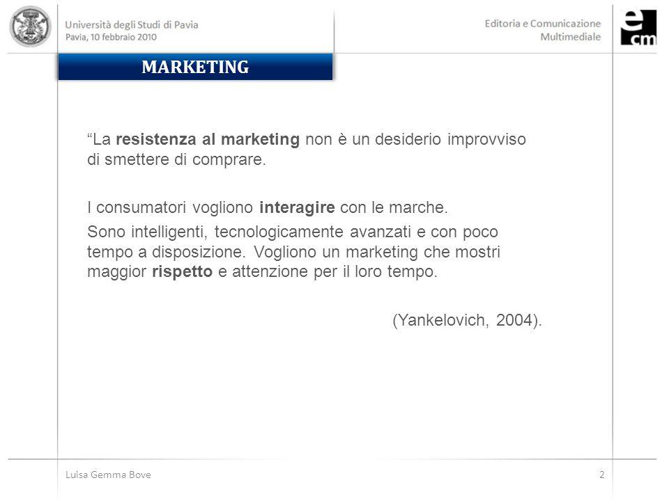 Luisa Gemma Bove2 La resistenza al marketing non è un desiderio improvviso di smettere di comprare.