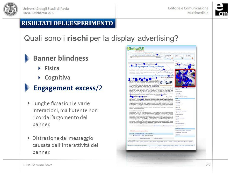 Luisa Gemma Bove23 RISULTATI DELL'ESPERIMENTO  Lunghe fissazioni e varie interazioni, ma l'utente non ricorda l'argomento del banner.