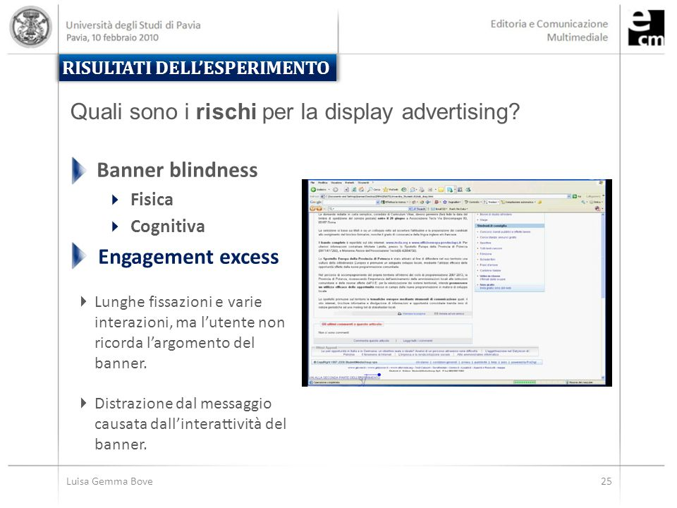 Luisa Gemma Bove25 RISULTATI DELL'ESPERIMENTO Quali sono i rischi per la display advertising? Banner blindness  Fisica  Cognitiva Engagement excess