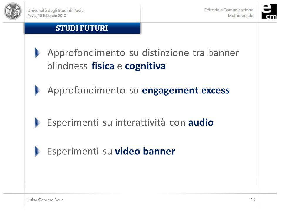 Luisa Gemma Bove26 STUDI FUTURI Esperimenti su interattività con audio Esperimenti su video banner Approfondimento su distinzione tra banner blindness fisica e cognitiva Approfondimento su engagement excess