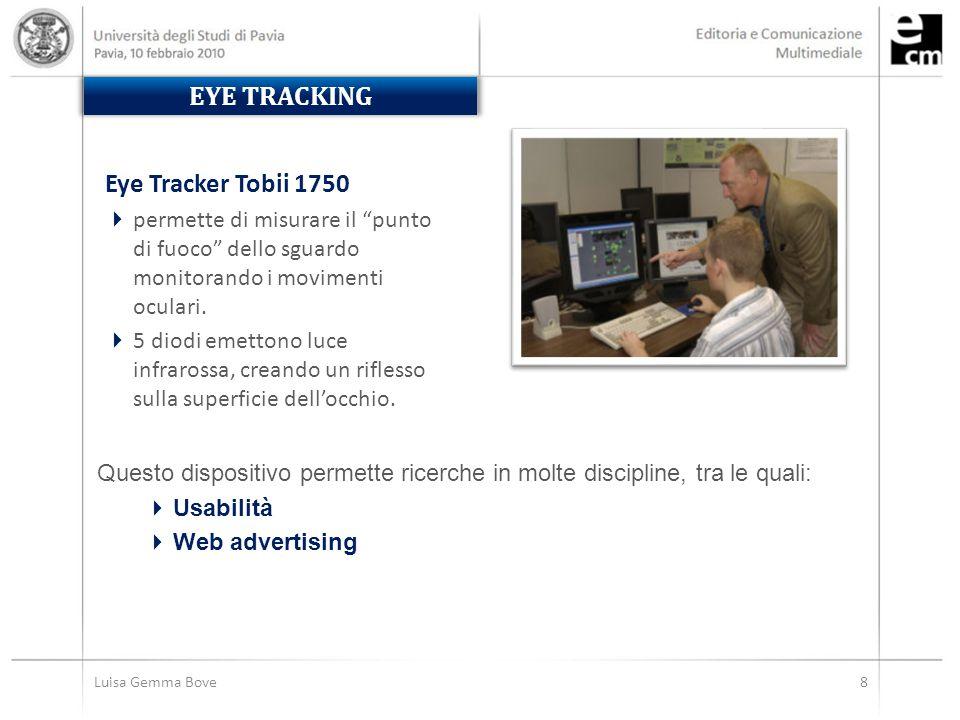 Luisa Gemma Bove8 EYE TRACKING Eye Tracker Tobii 1750  permette di misurare il punto di fuoco dello sguardo monitorando i movimenti oculari.