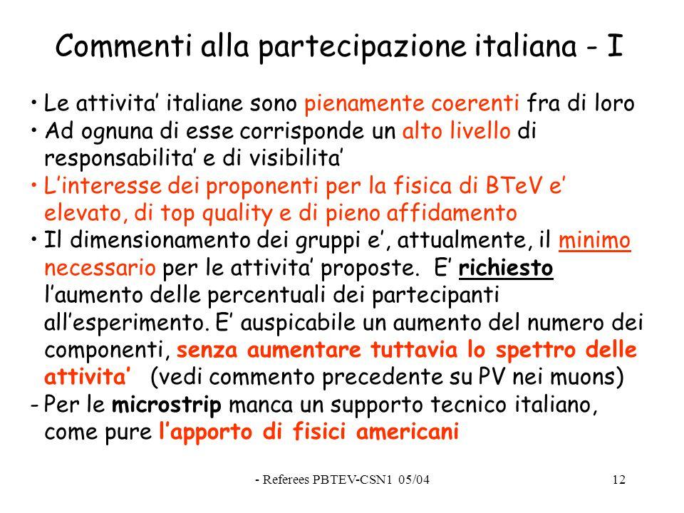 - Referees PBTEV-CSN1 05/0412 Commenti alla partecipazione italiana - I Le attivita' italiane sono pienamente coerenti fra di loro Ad ognuna di esse corrisponde un alto livello di responsabilita' e di visibilita' L'interesse dei proponenti per la fisica di BTeV e' elevato, di top quality e di pieno affidamento Il dimensionamento dei gruppi e', attualmente, il minimo necessario per le attivita' proposte.