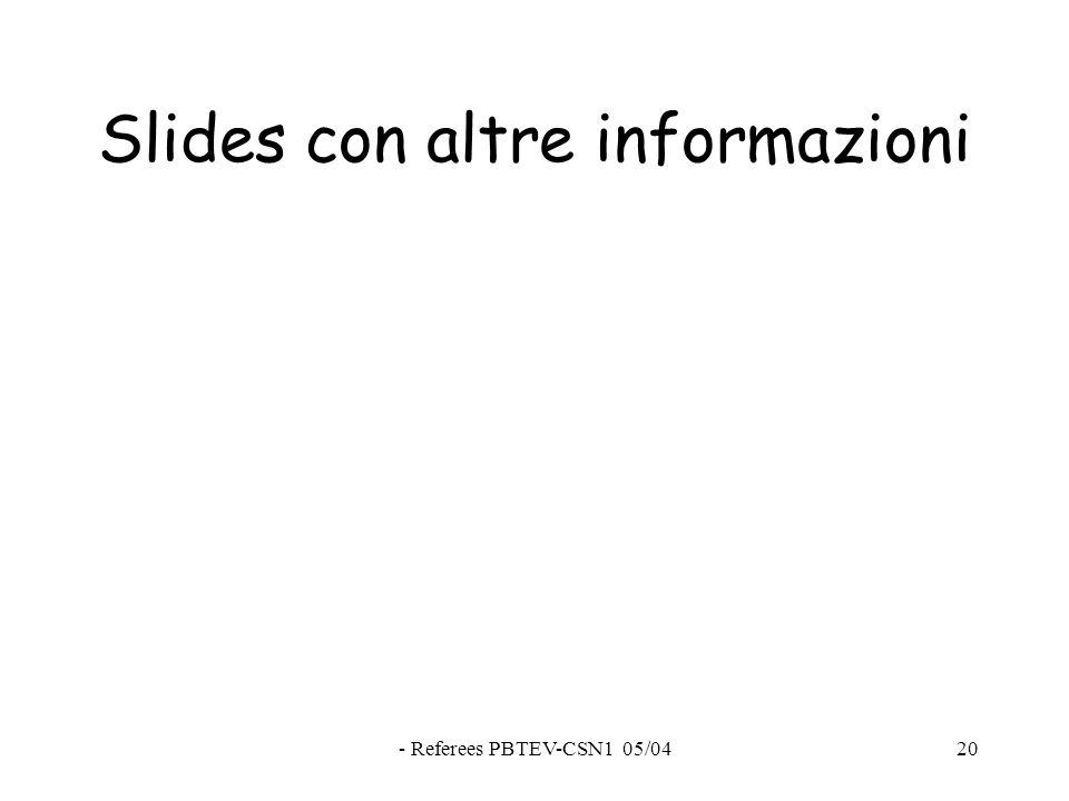 - Referees PBTEV-CSN1 05/0420 Slides con altre informazioni