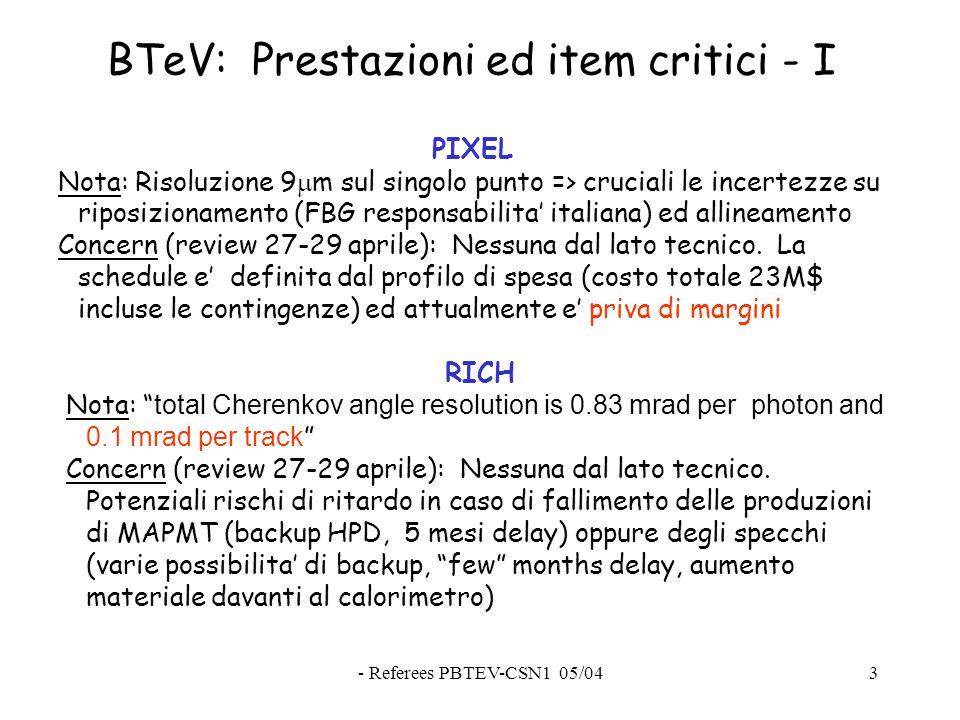 - Referees PBTEV-CSN1 05/043 BTeV: Prestazioni ed item critici - I PIXEL Nota: Risoluzione 9  m sul singolo punto => cruciali le incertezze su riposizionamento (FBG responsabilita' italiana) ed allineamento Concern (review 27-29 aprile): Nessuna dal lato tecnico.