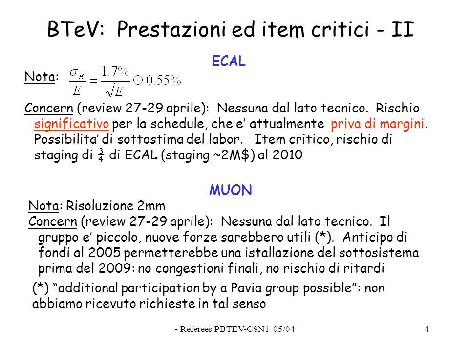 - Referees PBTEV-CSN1 05/044 BTeV: Prestazioni ed item critici - II ECAL Nota: Concern (review 27-29 aprile): Nessuna dal lato tecnico.