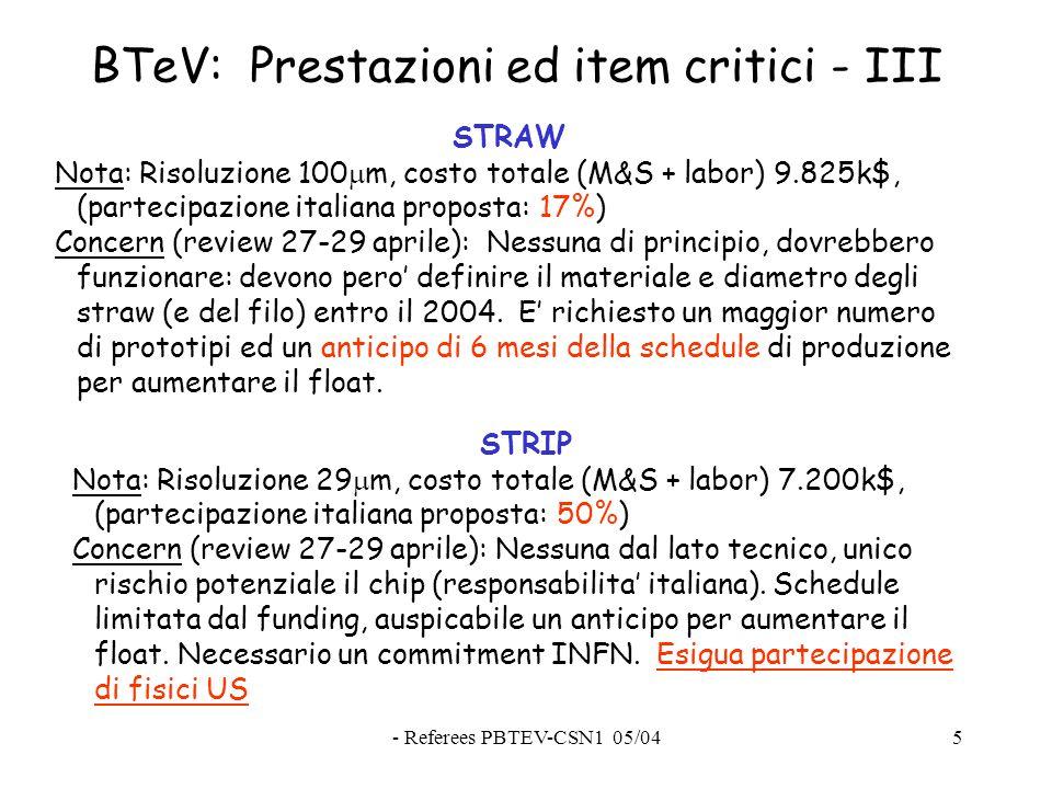 - Referees PBTEV-CSN1 05/045 BTeV: Prestazioni ed item critici - III STRAW Nota: Risoluzione 100  m, costo totale (M&S + labor) 9.825k$, (partecipazione italiana proposta: 17%) Concern (review 27-29 aprile): Nessuna di principio, dovrebbero funzionare: devono pero' definire il materiale e diametro degli straw (e del filo) entro il 2004.
