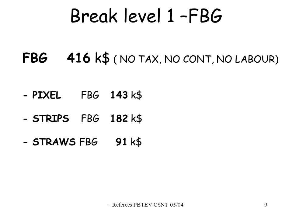 - Referees PBTEV-CSN1 05/049 Break level 1 –FBG FBG 416 k$ ( NO TAX, NO CONT, NO LABOUR) - PIXEL FBG 143 k$ - STRIPS FBG 182 k$ - STRAWS FBG 91 k$