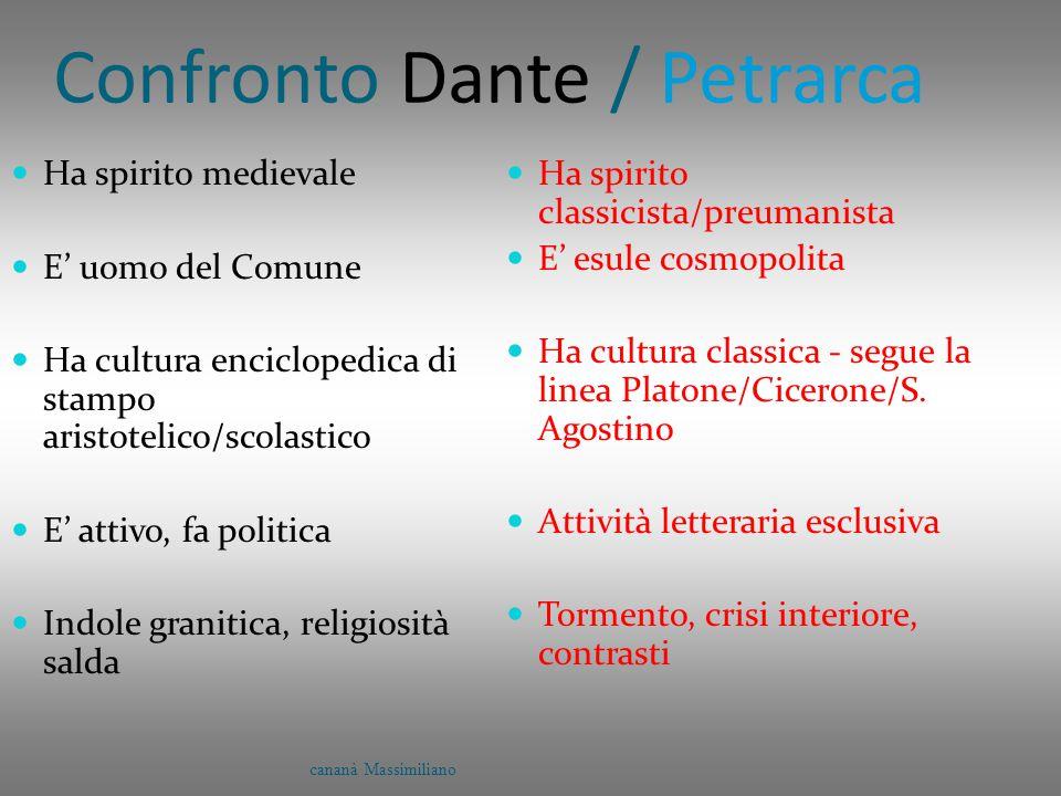 Confronto Dante / Petrarca Ha spirito medievale E' uomo del Comune Ha cultura enciclopedica di stampo aristotelico/scolastico E' attivo, fa politica I