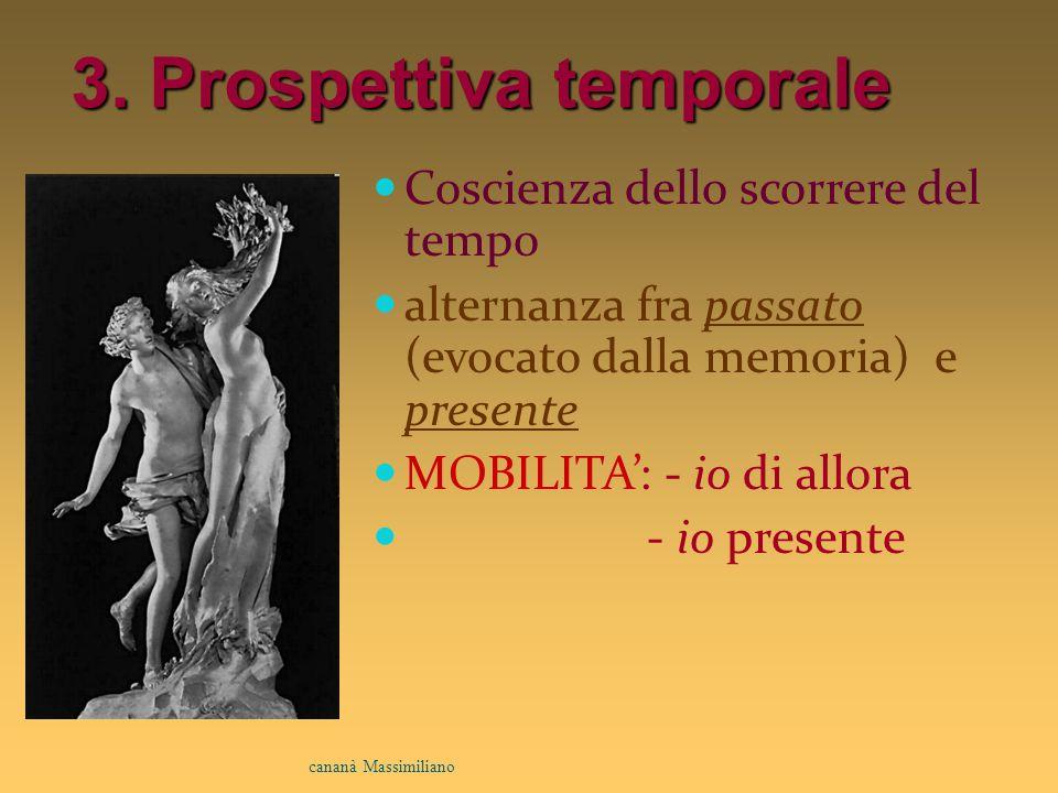 3. Prospettiva temporale Coscienza dello scorrere del tempo alternanza fra passato (evocato dalla memoria) e presente MOBILITA': - io di allora - io p