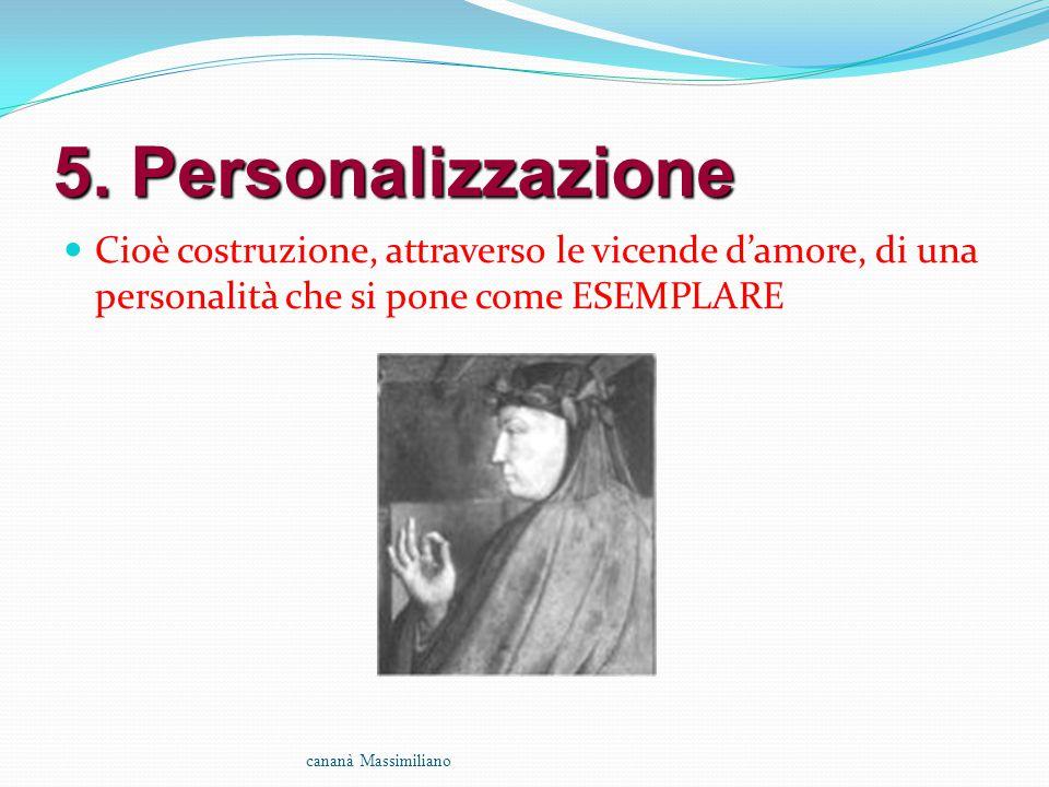 5. Personalizzazione Cioè costruzione, attraverso le vicende d'amore, di una personalità che si pone come ESEMPLARE cananà Massimiliano