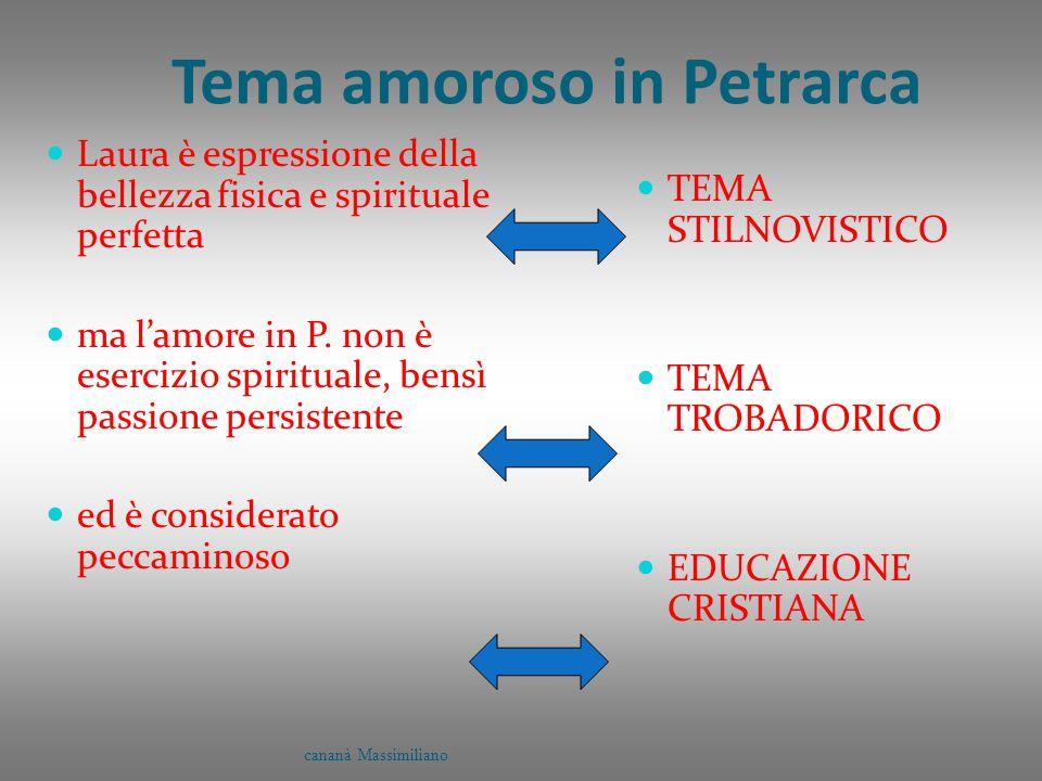 Tema amoroso in Petrarca Laura è espressione della bellezza fisica e spirituale perfetta ma l'amore in P. non è esercizio spirituale, bensì passione p