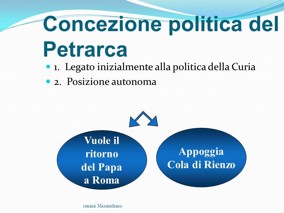 Concezione politica del Petrarca 1. Legato inizialmente alla politica della Curia 2. Posizione autonoma cananà Massimiliano Vuole il ritorno del Papa