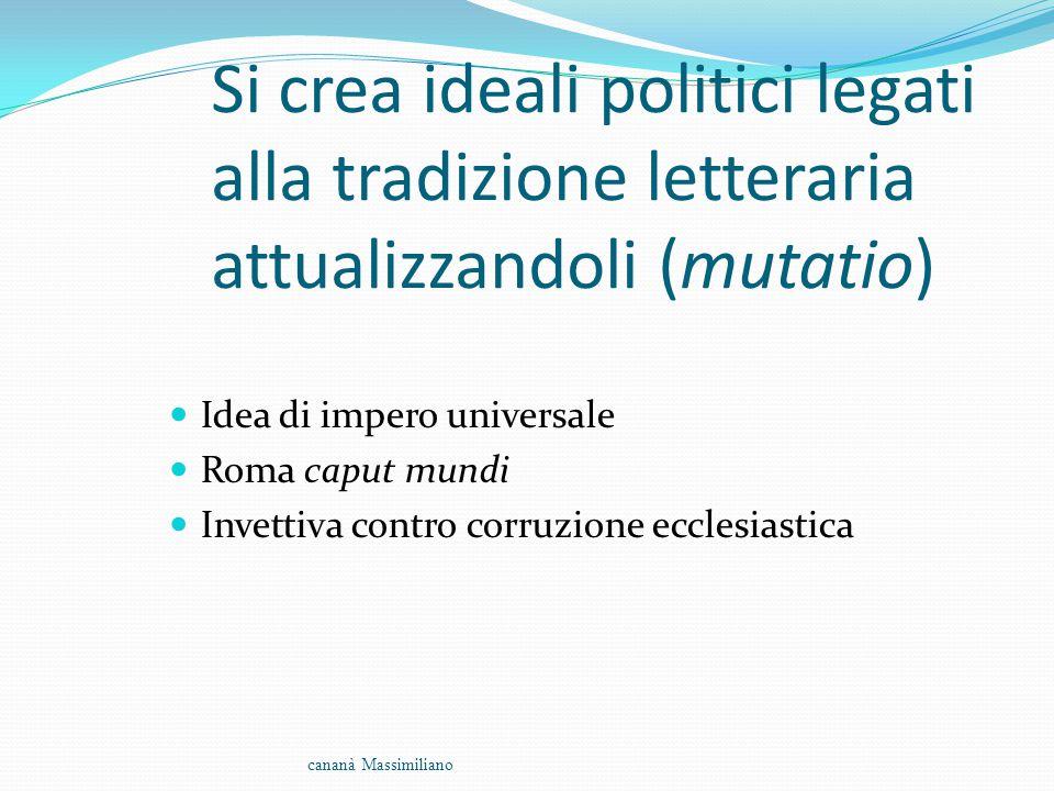 Si crea ideali politici legati alla tradizione letteraria attualizzandoli (mutatio) Idea di impero universale Roma caput mundi Invettiva contro corruz