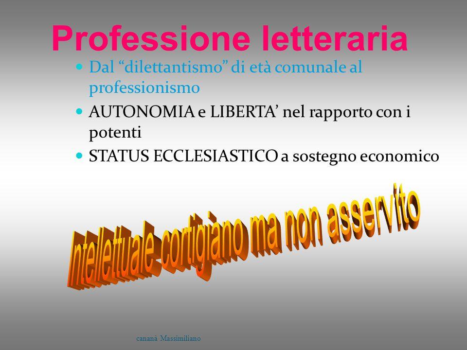 """Professione letteraria Dal """"dilettantismo"""" di età comunale al professionismo AUTONOMIA e LIBERTA' nel rapporto con i potenti STATUS ECCLESIASTICO a so"""