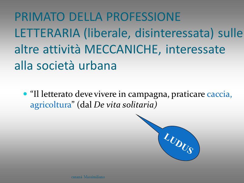 """PRIMATO DELLA PROFESSIONE LETTERARIA (liberale, disinteressata) sulle altre attività MECCANICHE, interessate alla società urbana """"Il letterato deve vi"""