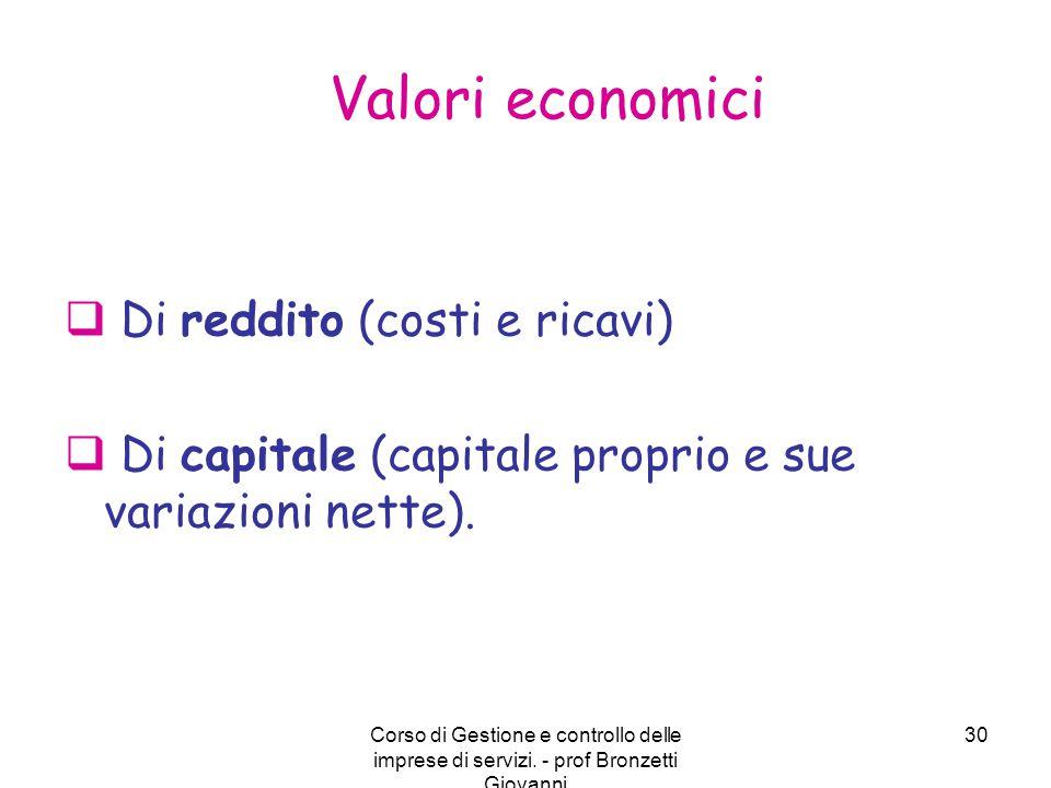 Corso di Gestione e controllo delle imprese di servizi. - prof Bronzetti Giovanni 30 Valori economici  Di reddito (costi e ricavi)  Di capitale (cap