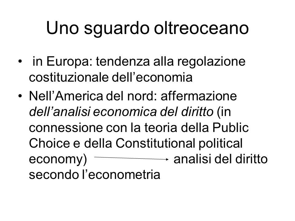 Uno sguardo oltreoceano in Europa: tendenza alla regolazione costituzionale dell'economia Nell'America del nord: affermazione dell'analisi economica d
