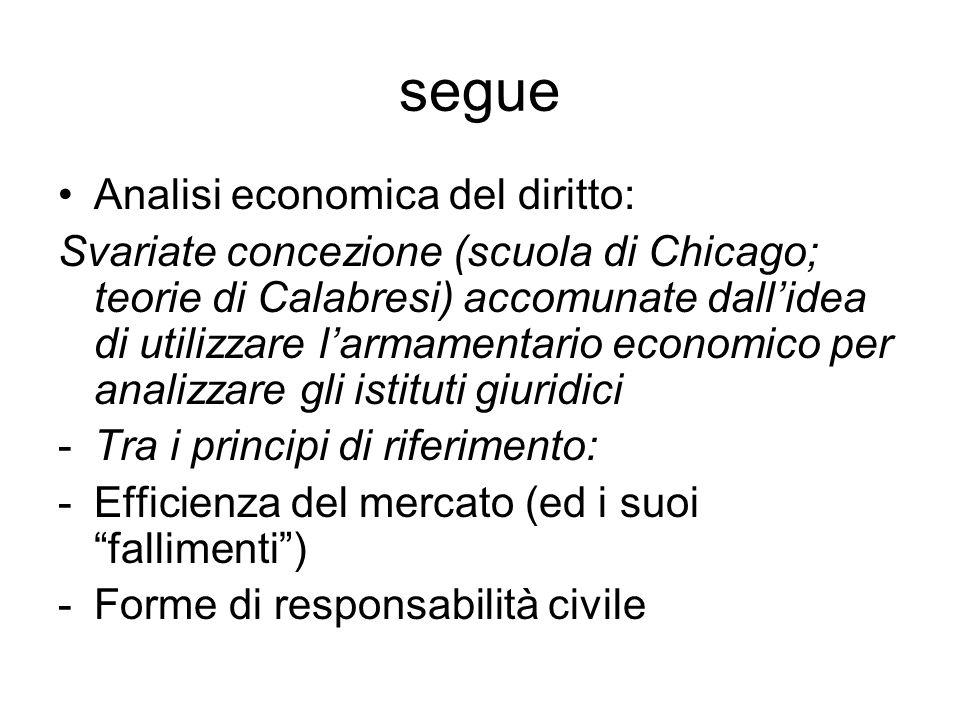 segue Analisi economica del diritto: Svariate concezione (scuola di Chicago; teorie di Calabresi) accomunate dall'idea di utilizzare l'armamentario ec