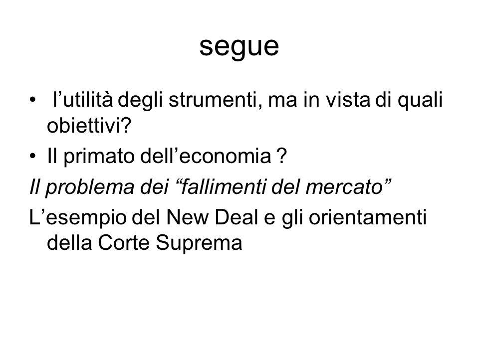 """segue l'utilità degli strumenti, ma in vista di quali obiettivi? Il primato dell'economia ? Il problema dei """"fallimenti del mercato"""" L'esempio del New"""