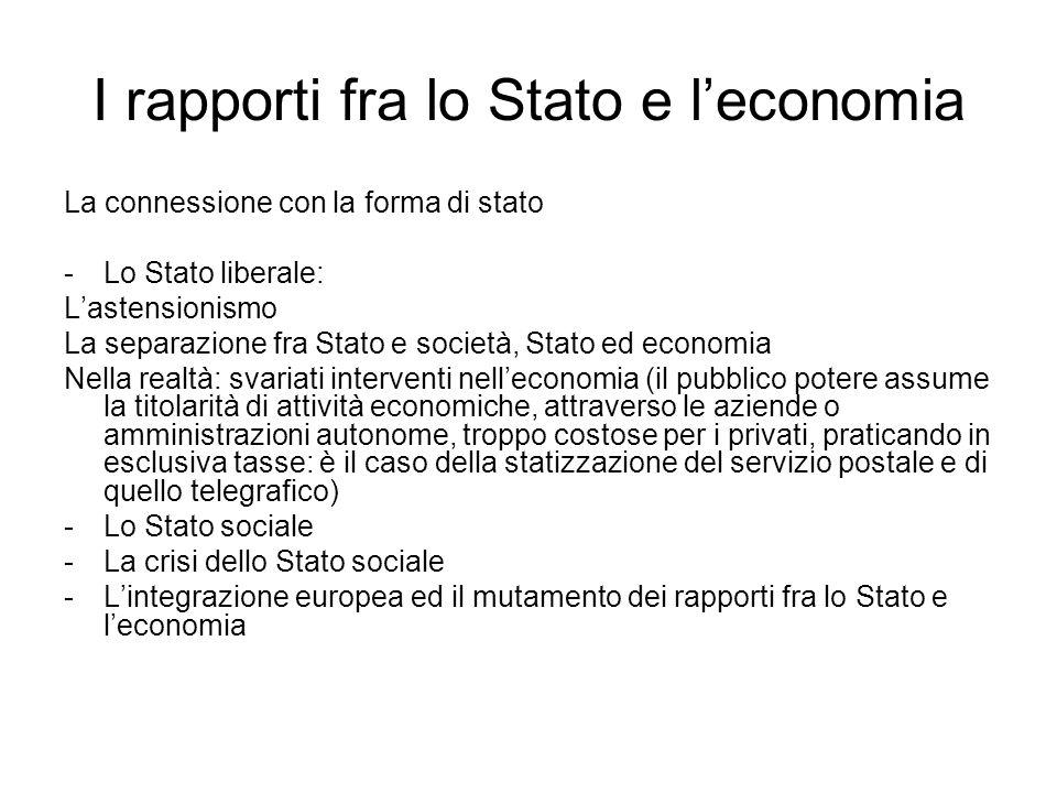 I rapporti fra lo Stato e l'economia La connessione con la forma di stato -Lo Stato liberale: L'astensionismo La separazione fra Stato e società, Stat