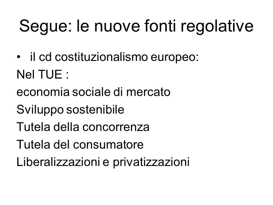 Segue: le nuove fonti regolative il cd costituzionalismo europeo: Nel TUE : economia sociale di mercato Sviluppo sostenibile Tutela della concorrenza