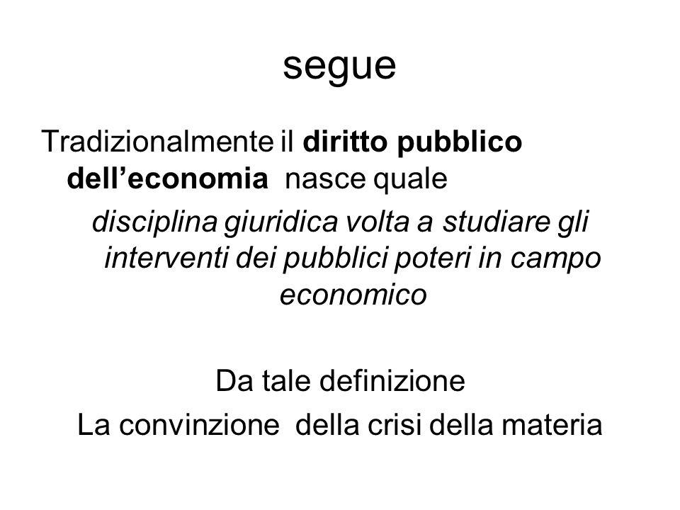 segue Tradizionalmente il diritto pubblico dell'economia nasce quale disciplina giuridica volta a studiare gli interventi dei pubblici poteri in campo